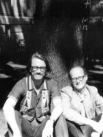 With Warren Tallman in front of my apartment in Montreal. The USAmericans were on the moon.