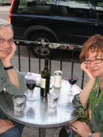 With my co-editor, agent, and sweetheart Jean Baird at Dooney's. (Photo by Max Fawcett.)