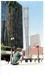Here I am in front of the Chicago site I had most anticipated, Claes Oldenburg's giant baseball bat in front of the employment office.